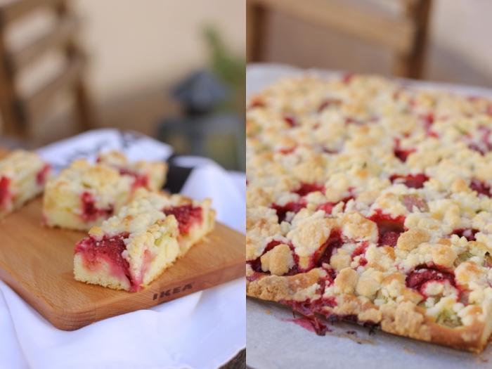 Erdbeer Rhabarber Streuselkuchen Eatbakelove